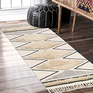 Boho Kitchen Runner Rug 2.3' x 5.3',KIMODE Cotton Geometric Contemporary Hand-tufted with Tassels Shag Natural Washable Ar...