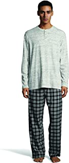 Men's Long Sleeve Henley Top with Flannel Pant Sleep Set