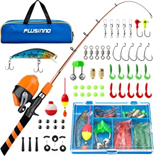 PLUSINNO Kids Fishing Pole, Portable Telescopic Fishing Rod and Reel Combo Kit - with Spincast Fishing Reel Tackle Box for...