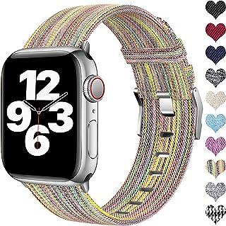Ouwegaga Compatibel met Apple Watch Bandje 38mm 40mm 42mm 44mm, Vervanging Geweven Stoffen Bandje Nylon Sportarmband Compa...