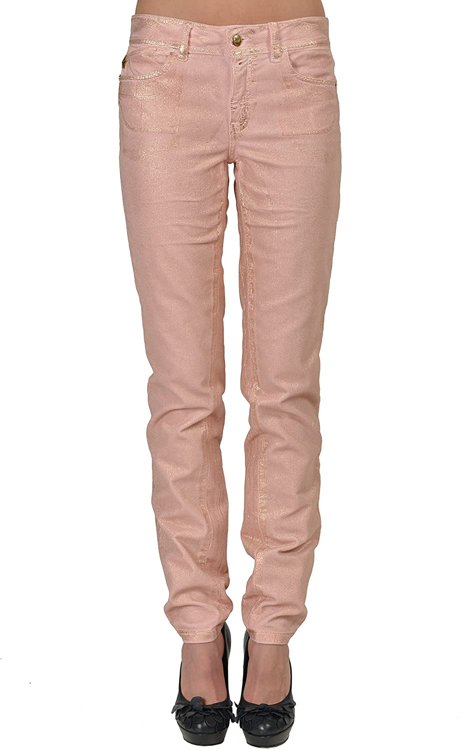Just Cavalli Luxury gold Sparkles Covered Pink Corduroy Skinny Jeans US 4 IT 26