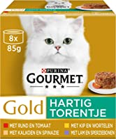 Gourmet Gold Hartig Torentje Kattenvoer, Natvoer met Rund & Tomaat, Kip & Wortelen, Kalkoen & Spinazie, Kalkoen &...