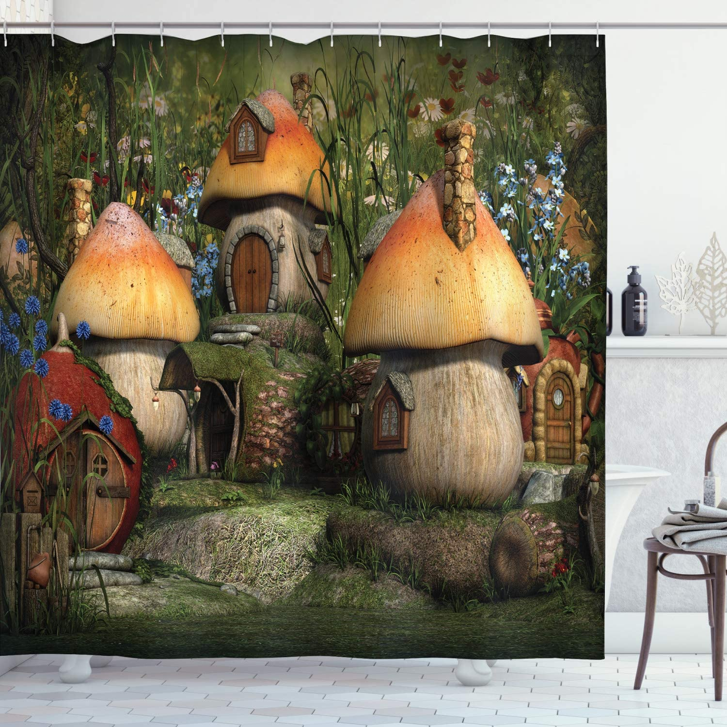 Ambesonne Nature Shower Ranking TOP2 Curtain Mushroom Fanta Colorado Springs Mall in Forest Houses