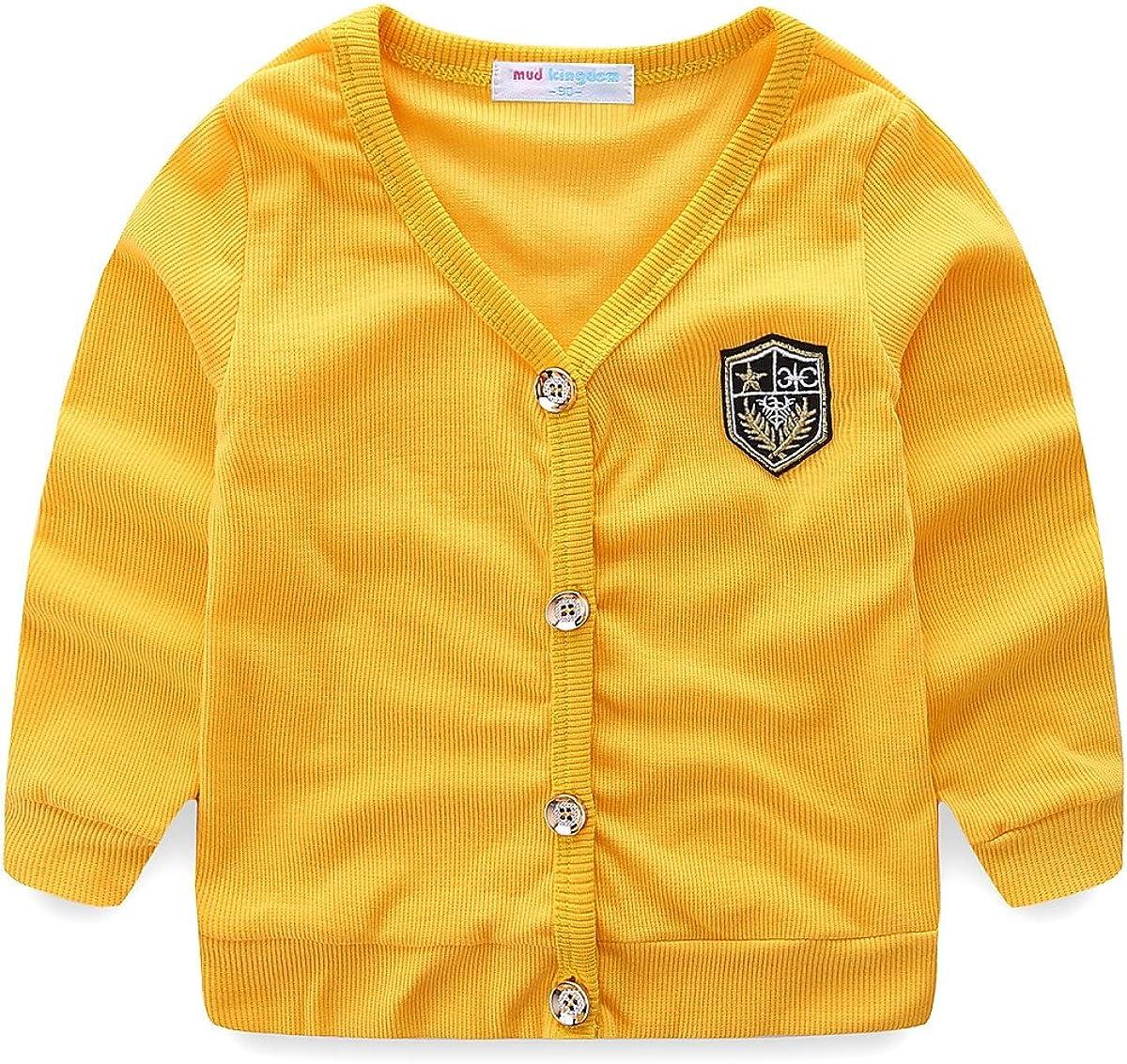 UWESPRING Kids Boys England Style V-Neck Cardigan Knit Sweater Coats 6T Yellow