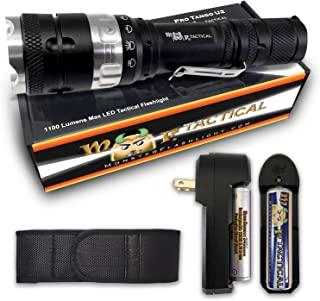 MF Tactical Pro Tango U2 Rechargeable Tactical LED Flashlight Kit - 1100 Lumen Pro Grade Waterproof 5 Modes: High, Med, Low, Strobe & SOS. Includes Li-ion Rechargeable Battery, Charger, Holster & Clip