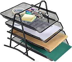 Bandeja Organizadora de Cartas AGPtek de 4 Niveles, Estructura de Malla para Documentos Papeles Archivos uso en Casa u Oficina - Negra