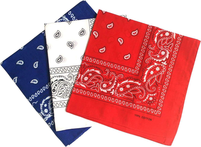 ComboCube 12 Pack Multi-Purpose Cotton Paisley Cowboy Bandanas Headband for Men and Women,Blue&White&Red: Clothing