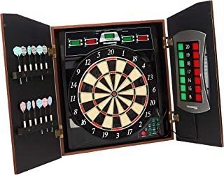 Bullshooter Cricket Maxx 5.0 Electronic Dartboard Cabinet Set Includes 6 Steel Tips, 6 Soft Tips, Extra Tips, and AC Adapter