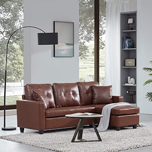 discount BELLEZE Altera Convertible Sectional Sofa, sale Modern Faux Leather L Shaped outlet online sale Couch 3-Seat with Reversible Chaise for Small Space, Brown sale