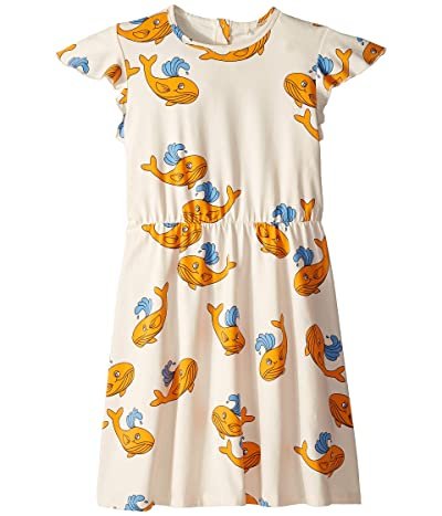 mini rodini Whale All Over Print Wing Dress (Infant/Toddler/Little Kids/Big Kids) (Orange) Girl