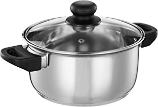 Amazon Brand - Solimo Stainless Steel Induction Bottom Dutch Oven with Glass Lid (20cm, 3.25 litres)