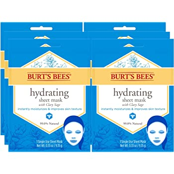 Burt's Bees Hydrating Face Mask, Single Use Sheet Mask, 6 Count