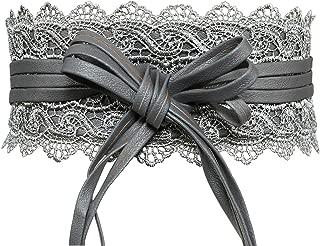 Lovful Women's Bowknot Lace Self Tie Wrap Around Obi Waist Band Cinch Wide Boho Belt