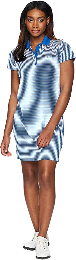 Short Sleeve Feeder Stripe Polo Dress