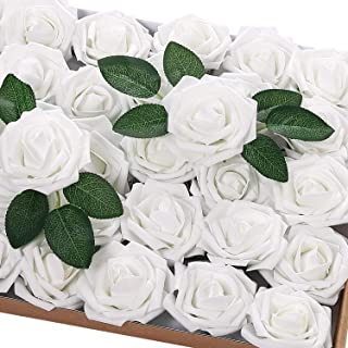 Jastella 72Pcs Artificial Rose Flowers with Stem, Real Looking Foam Fake Roses for DIY Wedding Bouquets Centerpieces Party Home Decor (03# White)