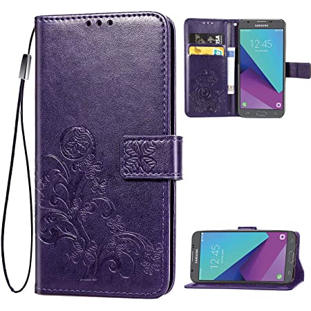 Galaxy J3 2017,J3 Emerge,J3 Prime,J3 Mission,J3 Eclipse Case, [Flower Embossed] PU Leather Wallet Flip Folio Protective Case Cover with Card Holder and Stand for Samsung Galaxy J3 2017 J320 (Purple)