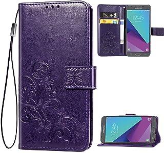 Galaxy J7 2017,J7 Prime,J7 V,j7 Perx,J7 Sky Pro Wallet Case, [Flower Embossed] Premium PU Leather Wallet Flip Protective P...