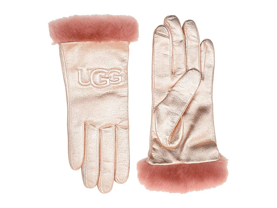 UGG Classic Leather Logo Tech Gloves (Rose Gold) Extreme Cold Weather Gloves