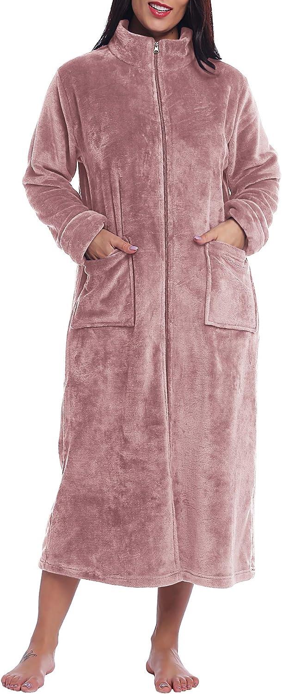 Amorbella Joyaria Womens Zip Up Fleece Dressing Gown Full Length Housecoat Robe