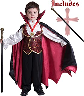 Gothic Vampire Costume Deluxe Set for Boys, Kids Halloween Party Favors, Dress Up,Role Play and Cosplay (3T) Red