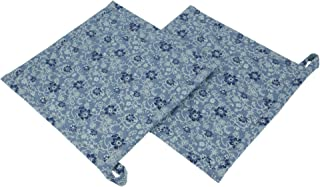 Shalinindia Set Of 2 Pot Holder Blue Floral Print Quilted kitchen accessory ideal for daily use