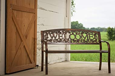 Leigh Country TX94101 Metal Welcome Outdoor Bench