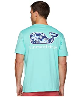 Short Sleeve Starfish Flowers Whale Front Pocket Tee