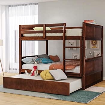 Merax Full Over Full Wood Bunk Bed with Twin Trundle Bed and Removal Ladder and Safety Rail, Can be Divided into 2 Beds, Walnut