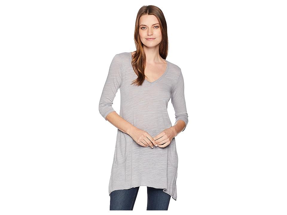 Allen Allen Slub Angled 3/4 Tunic (Pale Grey) Women's T Shirt
