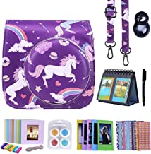 HDE Camera Case for Fujifilm Instax Mini 9 or 8/8+ Case and Accessories Kit Includes Leather Mini 9 Case and Strap Album Selfie Lens Photo Line Frames Borders Stickers Pen & More