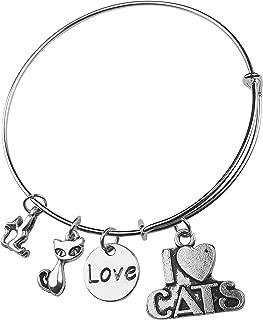 Art Attack I Love Kitty Cats Bracelet, Feline Animal Pet Charm, Gift for Cat Lovers