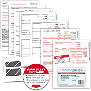 Tangible Values 1099 Misc Tax Forms (5-Part) Kit with Envelopes Plus Online Form Filler for 12 Individuals/Suppliers (2019)