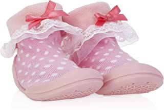 Nuby Snekz Comfortable Rubber Sole Sock Shoes for First Steps- Pink Polka Dots/Large 22-30 Months
