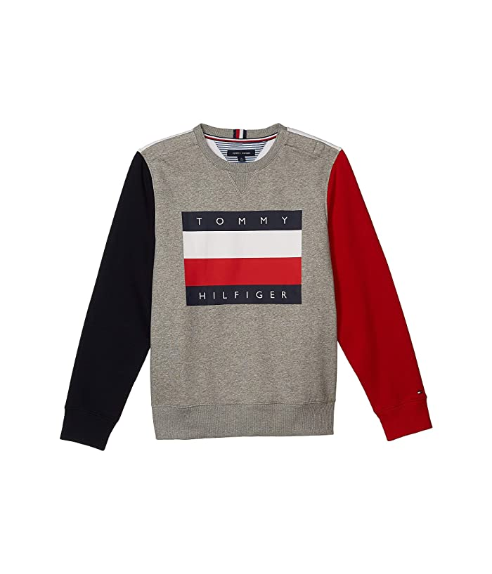 Tommy Hilfiger Adaptive  Classic Logo Crew (Spory Grey Heather/Snow White) Mens Clothing
