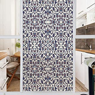 Decorative Window Film,No Glue Frosted Privacy Film,Stained Glass Door Film,Moroccan Floral Pattern with Victorian Rococo Baroque Oriental Design Decorative,for Home & Office,23.6In. by 35.4In Cream I