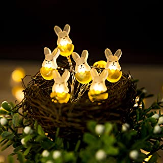 Onemore Rabbit Easter Fun String Lights, Battery-Operated 10FT 30 LEDs Copper Wires Fairy Lights for Girls Bedroom, Show, Patio, Fence, Deck, Balcony, Wedding Decorations