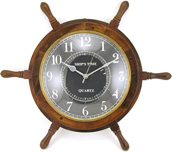 Home Collection Wood Ship Wheel Wall Clock With Antique Brass Metal Trim 25 Inch Nautical