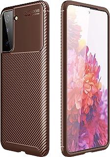 سامسونج جالاكسي S21 بلس (Samsung Galaxy S21 Plus) جراب خلفي اتوفوكس سيليكون مقاوم للصدمات من الكربون فايبر - بنى