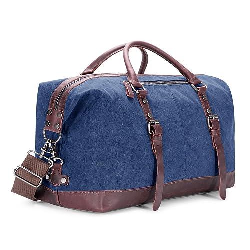 133b9a492407 BAOSHA Canvas PU Leather Travel Tote Duffel Bag Carry on Bag Weekender  Overnight Bag