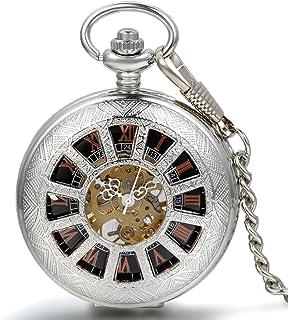JewelryWe Montre de Poche Gousset Squelette Mécanique Manuel Motifs Chiffres Romains Pendentif Collier Alliage Fantaisie p...