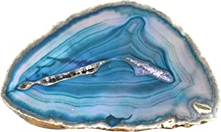 Blue/Teal Agate Slab, 0.6lbs - Freeform Geode with Polished Cross Sectional Cut - 100% Authentic Brazilian Agate - The Artisan Mined Series by hBAR