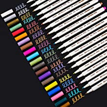 Sunshilor Metallic Markers Fine Point Metallic Marker Pens for Black Paper, Scrapbooking, Christmas Posters, Rock Painting...