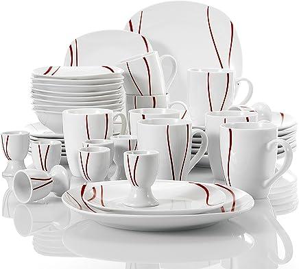 Preisvergleich für MALACASA, Serie Felisa, 40 teilig Set Porzellan Kombiservice mit 8 Flachteller, 8 Kuchenteller, 8 Müslischale, 8 Becher und 8 Eierbecher