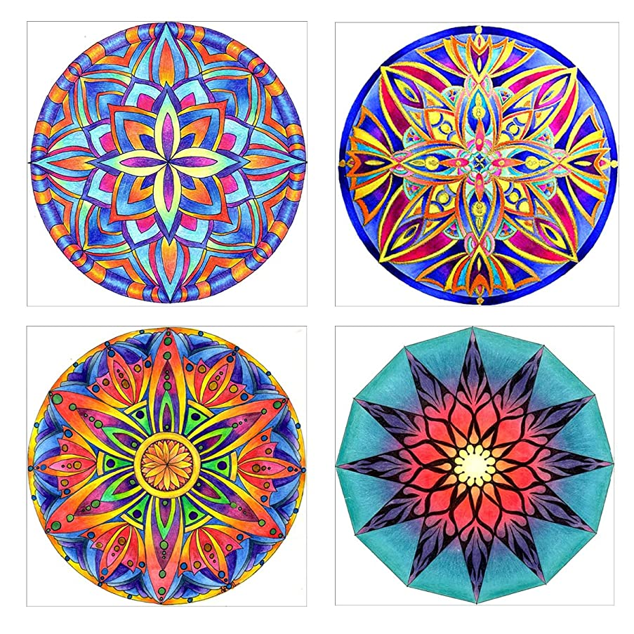 HengQ 5D DIY Full Drill Diamond Painting Sets Diamond Painting for Adult or Kid ,Diamond Painting by Number,4Pack Set(10x10)