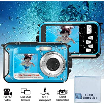 Acuvar 24MP Megapixel Waterproof Dual Screen Full HD 1080P Digital Camera for Under Water Photo and Video Recording for Selfies with LED Flash Light for Adults and Kids (Blu) + Microfiber Cloth