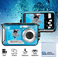 Acuvar 24MP Megapixel Waterproof Dual Screen Full HD 1080P Digital Camera for Under Water Photo and Video Recording for Selfies with LED Flash Light (Blu)