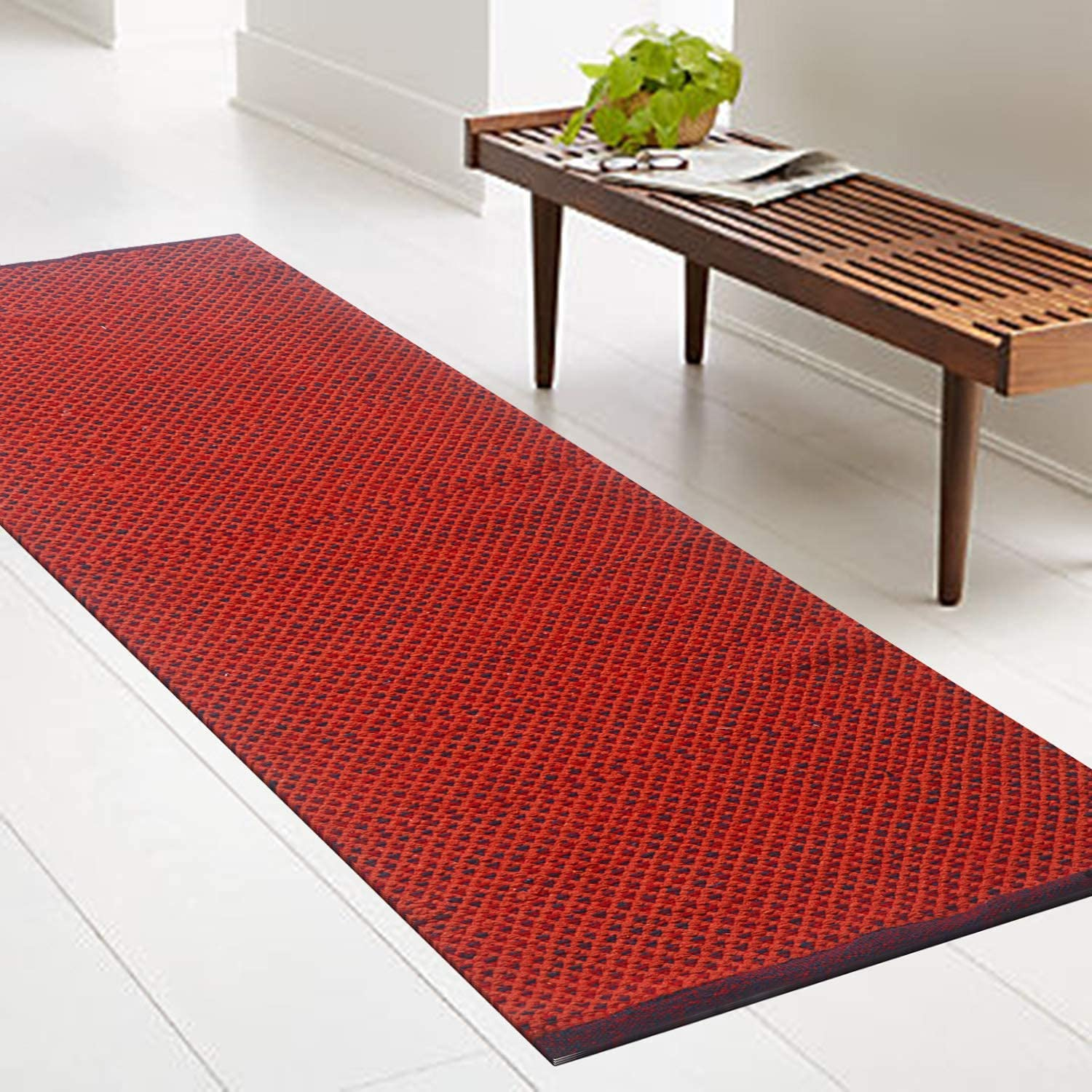 Chardin Home- Boston: Hand Woven Recycled Cotton Rug, Rust, Size 2'x5'. Machine Washable.