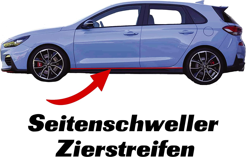 Printattack P049 Seitenschweller Dekorleiste Zierstreifen Folie Aufkleber Passgenau Selbstklebend Tuning Motorsport Blutrot Auto