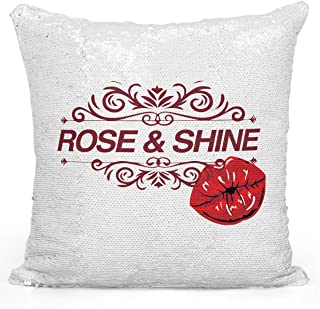 Loud Universe Pretty Rose And Shine Kiss Red Lips Sequin Magic Flip Throw Pillow, White - 16 x 16 inch