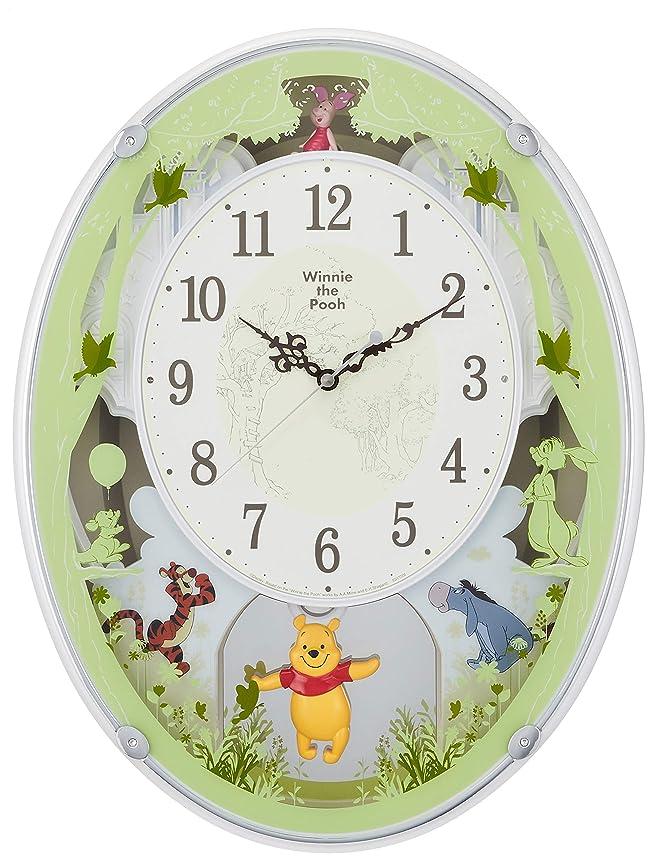 究極のクレア批評ディズニー くまのプーさん 掛け時計 電波時計 からくり時計 メロディ付き 白 リズム時計 M523 4MN523MC03